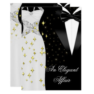 Elegant Affair White Dress Black Tie Gold Birthday Card