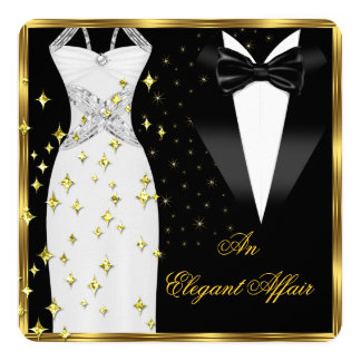 Elegant Affair White Dress Black Tie Gold Birthday Card