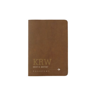 elegant aged brown texture with his name, classy passport holder