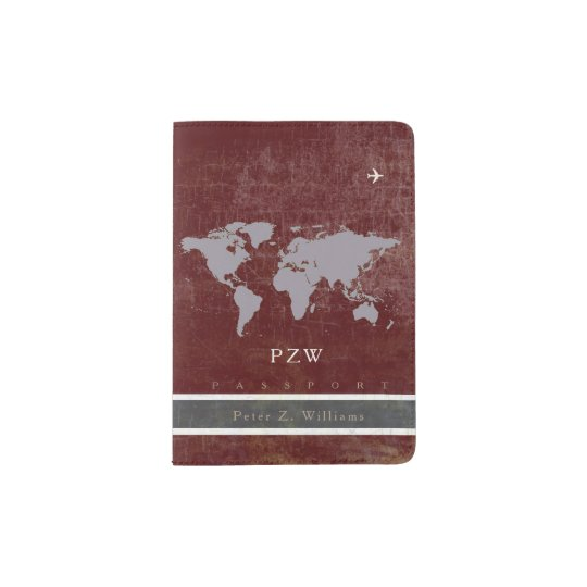 elegant aged burgundy passport holder with name
