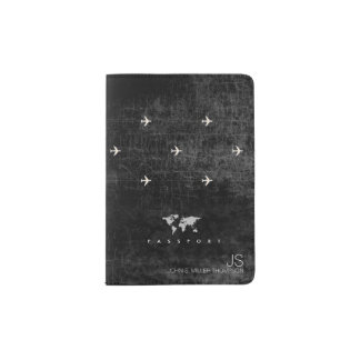 elegant aged look black travel passport holder
