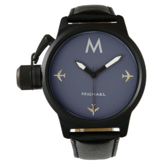 elegant airplanes with name & initial, black watch