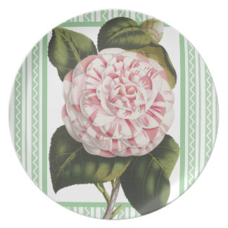 Elegant Alabama Camellia Pink and Green Southern Dinner Plate