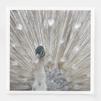 Elegant Albino Peacock Paper Serviettes