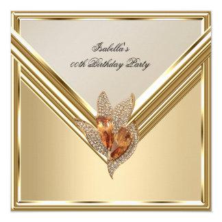 "Elegant Amber Caramel Beige Gold Birthday Party 5.25"" Square Invitation Card"