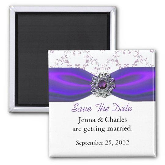 Elegant Amethyst Jewel Save the Date Magnet