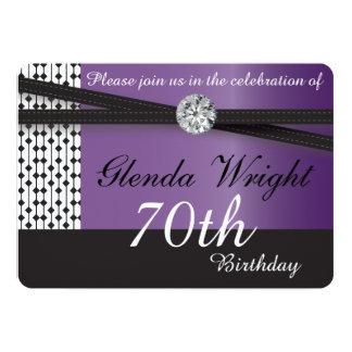 Elegant Amethyst Purple and Black Birthday 13 Cm X 18 Cm Invitation Card