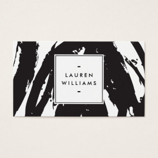 Elegant and Abstract Black and White Brushstrokes Business Card
