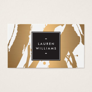 Elegant and Abstract Copper Brushstrokes Business Card
