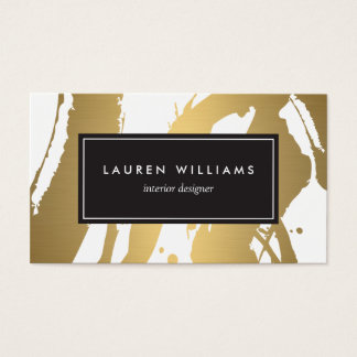 Elegant and Abstract Gold Brushstrokes III Business Card