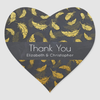 Elegant And Chic Black And Gold Feather Thank You Heart Sticker
