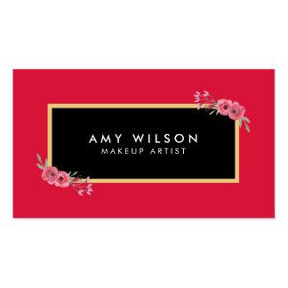 Elegant and Chic Makeup Artist Pink Floral Pack Of Standard Business Cards