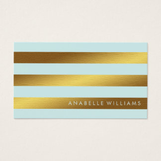 Elegant and Chic Mint and Faux Gold Foil Business Card