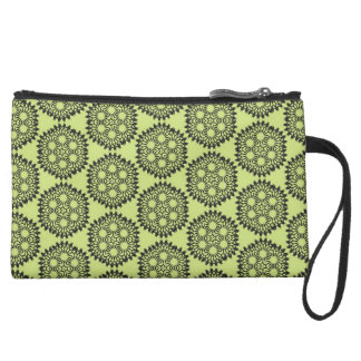 Elegant and classic lime green circular graphic wristlet purses
