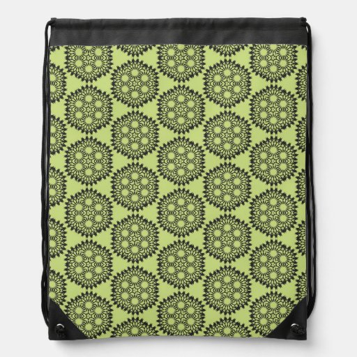 Elegant and classic lime green circular graphic cinch bags