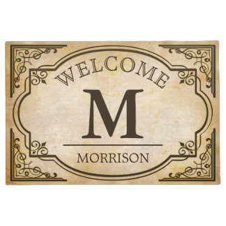 Elegant and Classic Vintage Look Monogram Initials Doormat