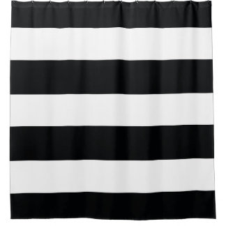 Elegant and Classy Black and White Stripes Pattern Shower Curtain