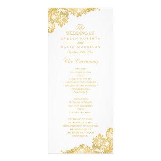 Elegant and Classy Gold Lace Wedding Program Custom Rack Cards