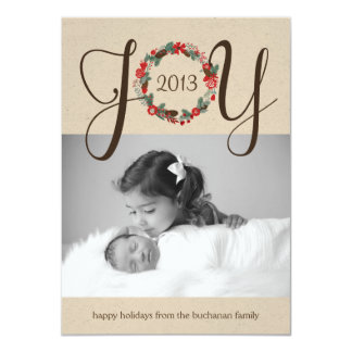 Elegant and Classy Joy Wreath Photo Card Design 11 Cm X 16 Cm Invitation Card