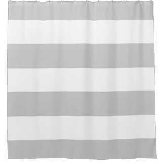 Elegant and Classy Light Grey and White Stripes Shower Curtain