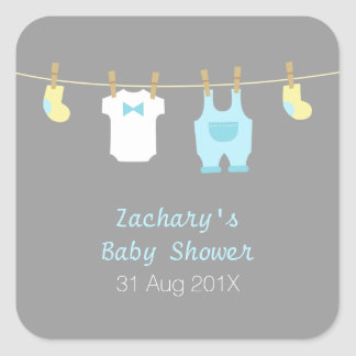 Elegant and Cute Baby Boy Clothes, Baby Shower Sticker