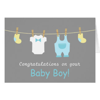 Elegant and Cute Baby Boy Clothes Greeting Card