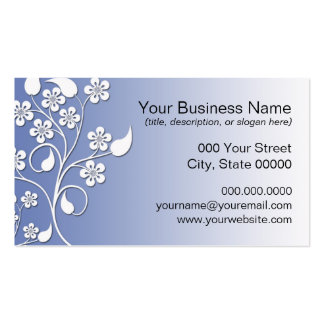 Elegant and Cute Blue and White Floral Pack Of Standard Business Cards