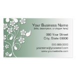 Elegant and Cute Green and White Floral Design Business Cards