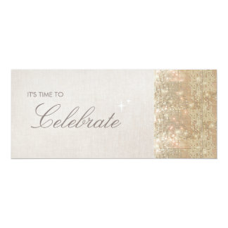 Elegant and Festive Sparkly Gold Sequins Party 10 Cm X 24 Cm Invitation Card