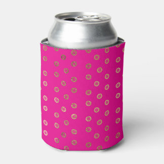 Elegant and Girly Faux Gold Glitter Dots Hot Pink Can Cooler
