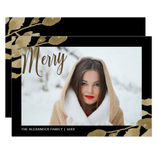 Elegant and Merry Botanical Christmas Photo Card