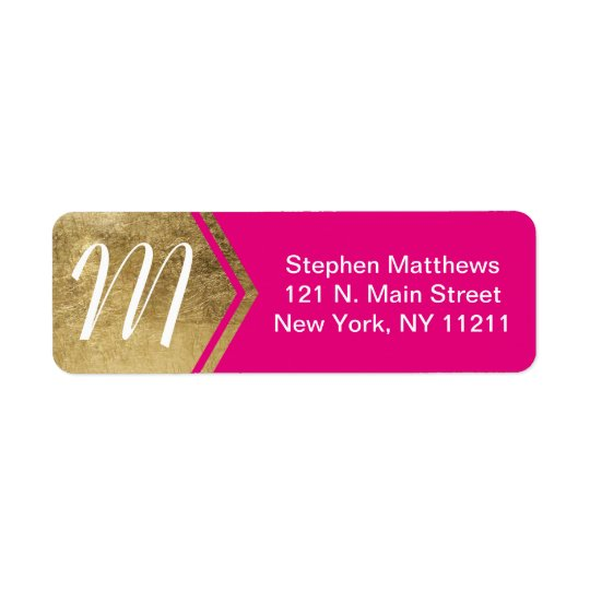 Elegant and Modern Faux Gold & Neon Pink Monogram