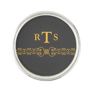 Elegant and Ornate Initials Belt - Gray Gold 8 Lapel Pin