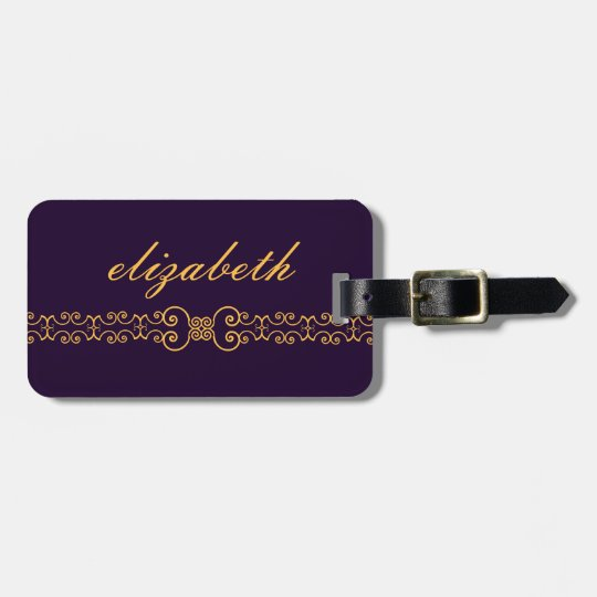 Elegant and Ornate Monogram Belt - Purple Gold 8 Luggage Tag