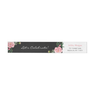 Elegant and Romantic Chic Floral Decor Wrap Around Label