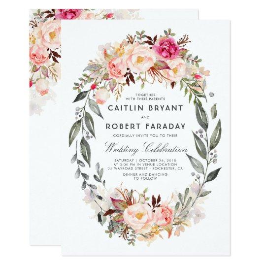 Elegant and Rustic Floral Wedding Card