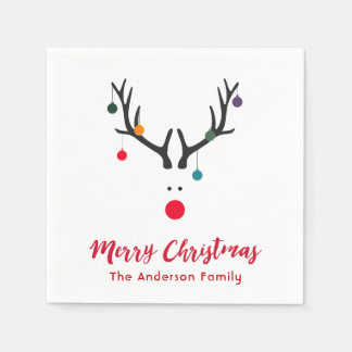 Elegant and simple Christmas reindeer in white red Disposable Serviettes
