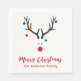Elegant and simple Christmas reindeer in white red Paper Napkins