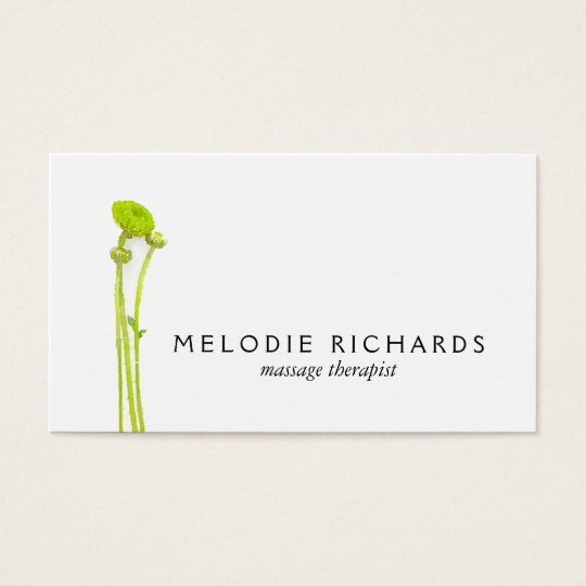 Elegant and Simple Watercolor Floral Therapist Business Card