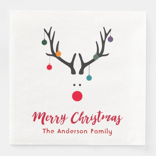 Elegant and stylish Christmas reindeer white red Paper