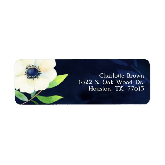 Elegant Anemone Navy Blue Wedding Address