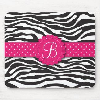Elegant Animal Print Zebra Monogram Girly Pink Mouse Pad