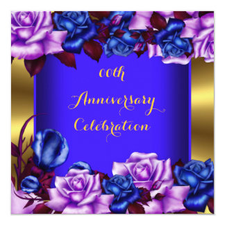 Elegant Anniversary Party Blue Lilac Roses 13 Cm X 13 Cm Square Invitation Card