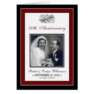 Elegant Anniversary Party Custom Card (red)