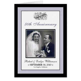 Elegant Anniversary Party Custom Card (silver)