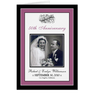 Elegant Anniversary Party Custom Card (violet)