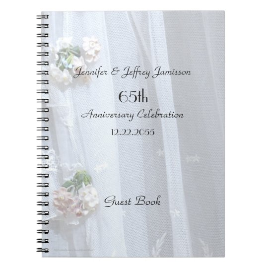 Elegant Anniversary Party Guest Book, Vintage Lace Notebooks