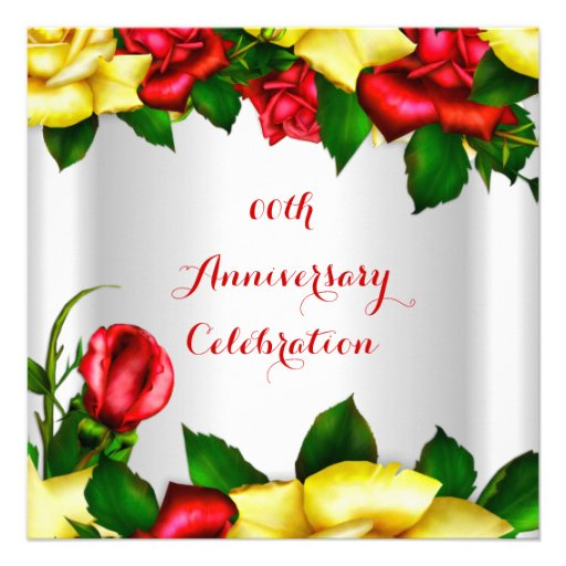 Elegant Anniversary Party Red Yellow Roses 2 Personalized Invite