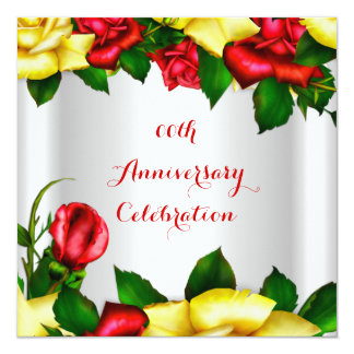 Elegant Anniversary Party Red Yellow Roses 2 13 Cm X 13 Cm Square Invitation Card
