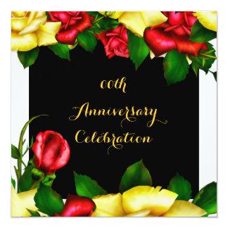 Elegant Anniversary Party Red Yellow Roses 3 13 Cm X 13 Cm Square Invitation Card